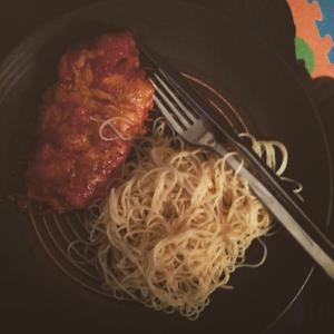Chicken Parm and Garlic noodles